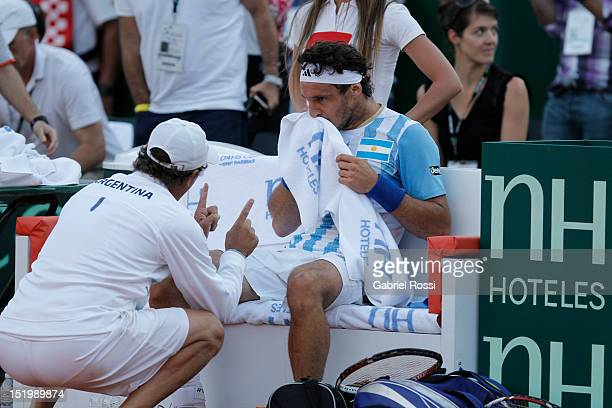 Juan Monaco of Argentina laments after beinmg defeated the second Davis Cup semi-final match between Argentina and Czech Republic at Mary Ter‡an de...