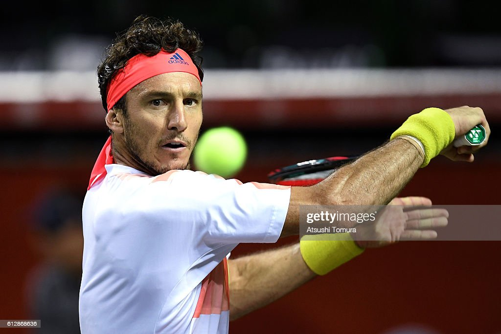 Juan Monaco of Argentina plays a backhand during the men's singles second round match against James Duckworth of Australia on day three of Rakuten Open 2016 at Ariake Colosseum on October 5, 2016 in Tokyo, Japan.