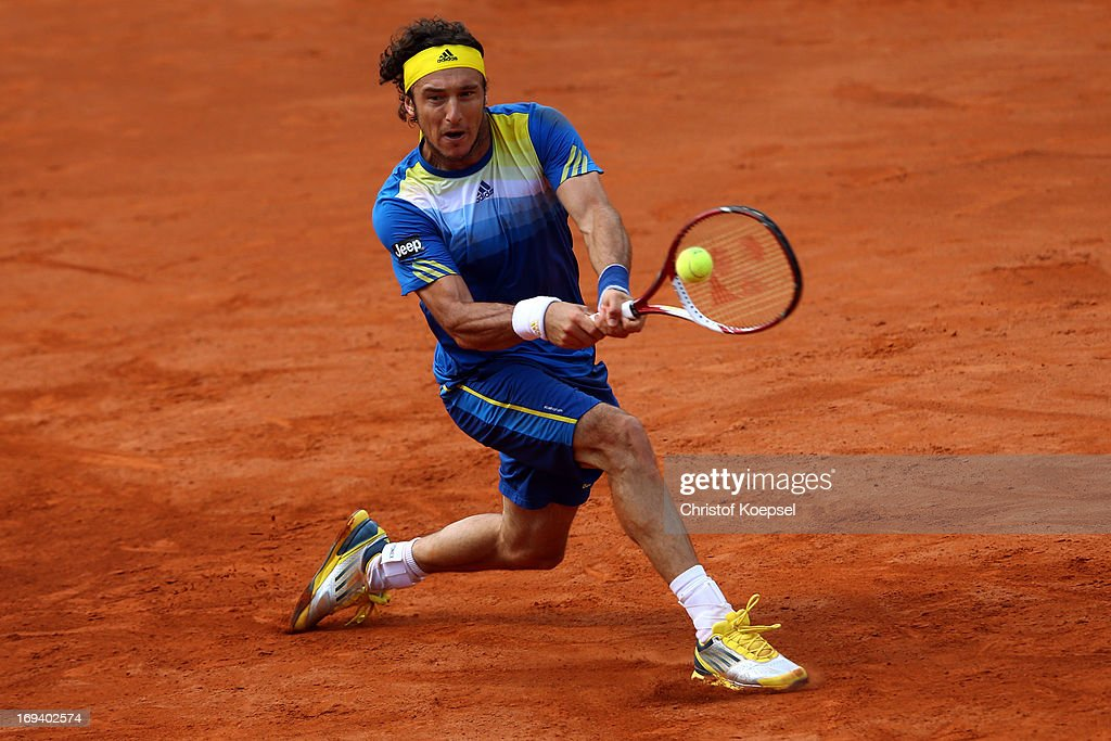 Juan Monaco of Argentina plays a backhand during the Power Horse World Team Cup semi-final between Guido Pella of Argentina and Juan Monaco of Argentina at Rochusclub on May 25, 2013 in Duesseldorf, Germany. The match between between Guido Pella and Juan Monaco ended 4-6, 6-7 (6-8).