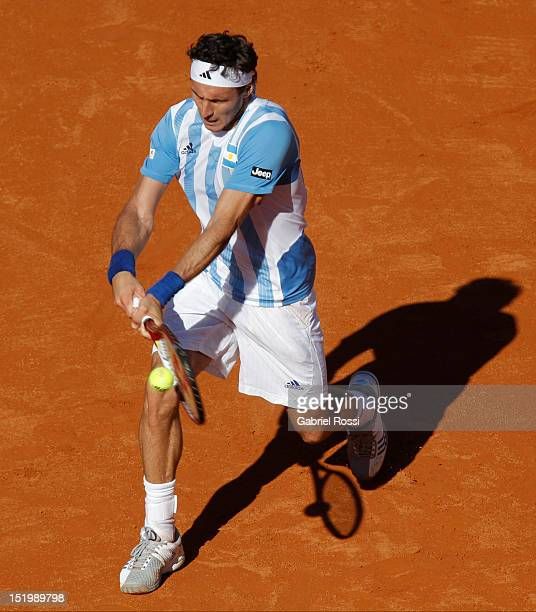 Juan Monaco of Argentina plays a shot during the second Davis Cup semi-final match between Argentina and Czech Republic at Mary Ter‡an de Weiss...