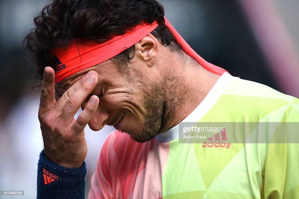 Juan Monaco of Argentina reacts after losing the men's singles quarterfinal match against Marin Cilic of Croatia on day five of Rakuten Open 2016 at Ariake Colosseum on October 7, 2016 in Tokyo, Japan.