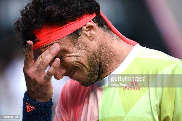Juan Monaco of Argentina reacts after losing the men's singles quarterfinal match against Marin Cilic of Croatia on day five of Rakuten Open 2016 at...