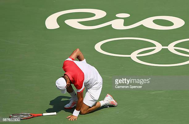 Juan Monaco of Argentina reacts during the men's second round singles match against Andy Murray of Great Britain on Day 4 of the Rio 2016 Olympic...