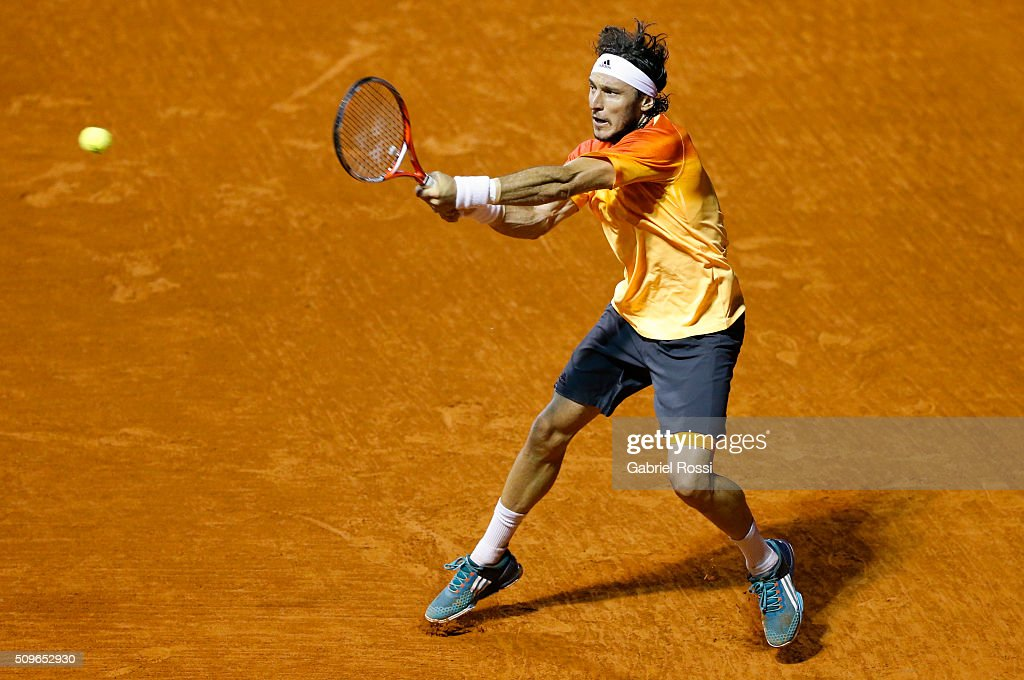Juan Monaco of Argentina takes a backhand shot during a match between Rafael Nadal of Spain and Juan Monaco of Argentina as part of ATP Argentina Open at Buenos Aires Lawn Tennis Club on February 11, 2016 in Buenos Aires, Argentina.