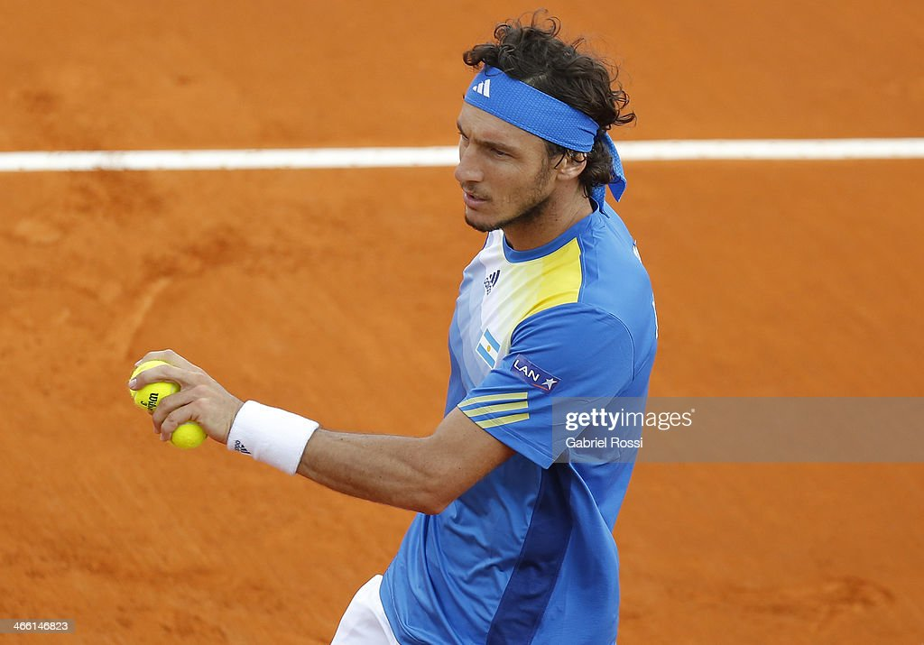 Juan Monaco of Argentine during a match between Argentina and Italy as part of the Davis Cup at Patinodromo Stadium on January 31, 2014 in Mar del Plata, Argentina.