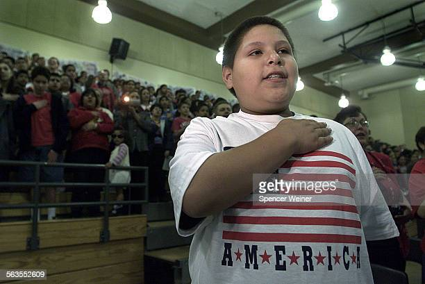 Juan Morales a 7th grader at Frank Intermediate School in Oxnard during a dedication of a memorial to those killed on Sept 11 particularly those on...