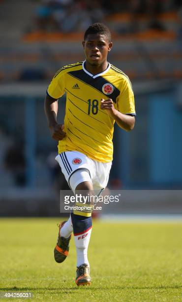 Juan Mosquera of Colombia in action during the Toulon Tournament Group B match between Colombia and Qatar at the Stade De Lattre on May 28, 2014 in...