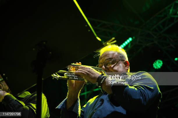 Juan Munguia of Septeto Internacional seen performing on stage A weekly jazz festival takes place every year at Technopolis in Gazi with musicians...