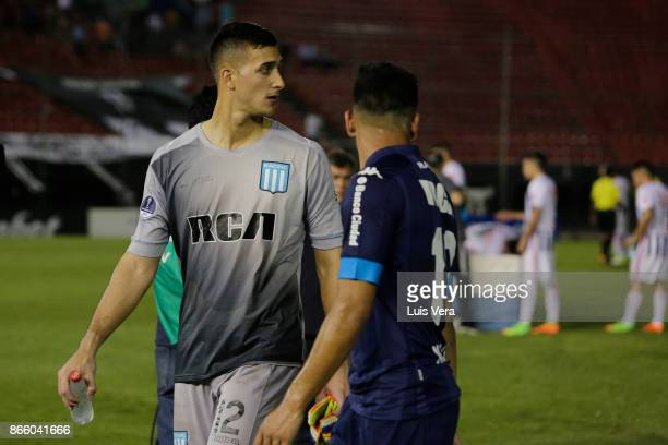 Juan Musso goalkeeper of Racing Club and his teammate Lautaro Martinez look dejected after losing a first leg match between Libertad and Racing Club...