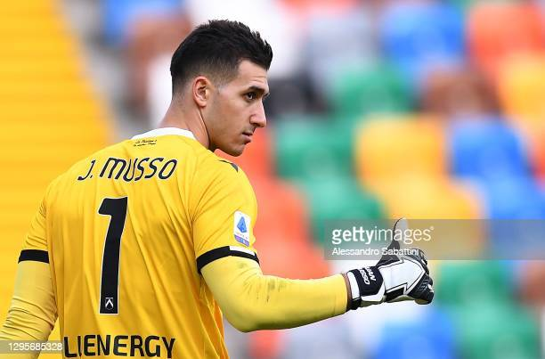 Juan Musso of Udinese Calcio gestures during the Serie A match between Udinese Calcio and SSC Napoli at Dacia Arena on January 10, 2021 in Udine,...