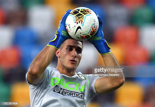 Juan Musso of Udinese Calcio in action during the Serie A match between Udinese Calcio and US Lecce at Stadio Friuli on July 29, 2020 in Udine, Italy.