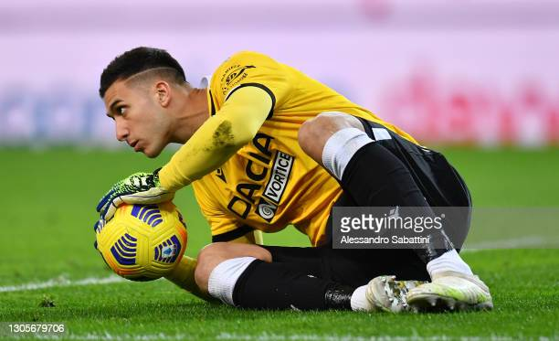 Juan Musso of Udinese Calcio looks on during the Serie A match between Udinese Calcio and US Sassuolo at Dacia Arena on March 06, 2021 in Udine,...