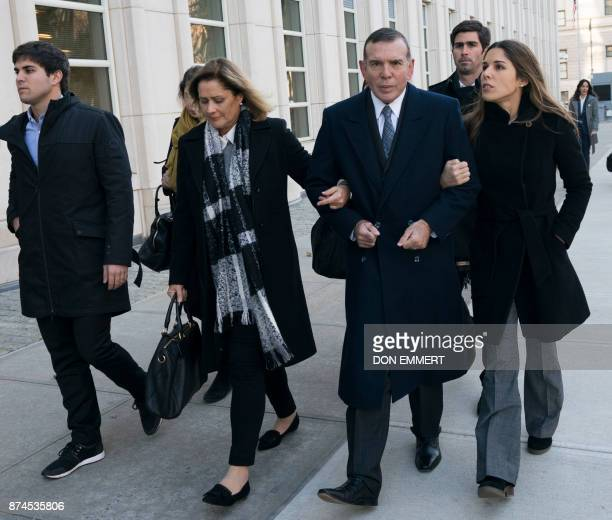 Juan Ángel Napout of Paraguay one of three defendants in the FIFA scandal on trial in Brooklyn arrives at the Federal Courthouse in Brooklyn on...