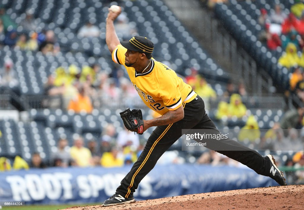 Juan Nicasio #12 of the Pittsburgh Pirates delivers a pitch in the seventh inning during the game against the Philadelphia Phillies at PNC Park on May 21, 2017 in Pittsburgh, Pennsylvania.