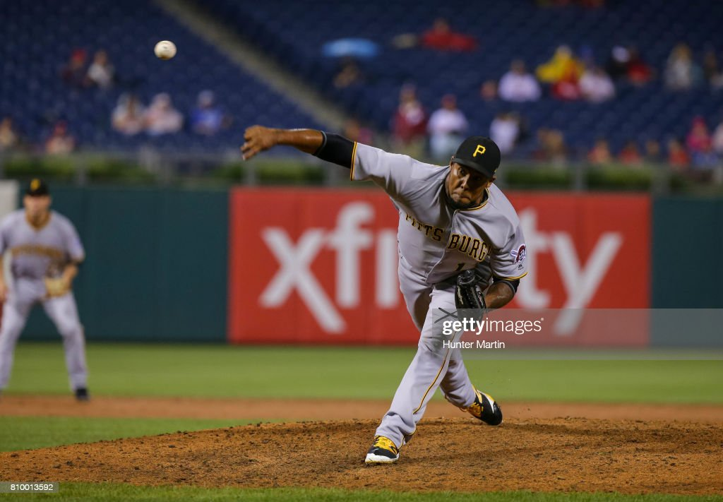 Juan Nicasio #12 of the Pittsburgh Pirates throws a pitch in the ninth inning during a game against the Philadelphia Phillies at Citizens Bank Park on July 6, 2017 in Philadelphia, Pennsylvania. The Pirates won 6-3.