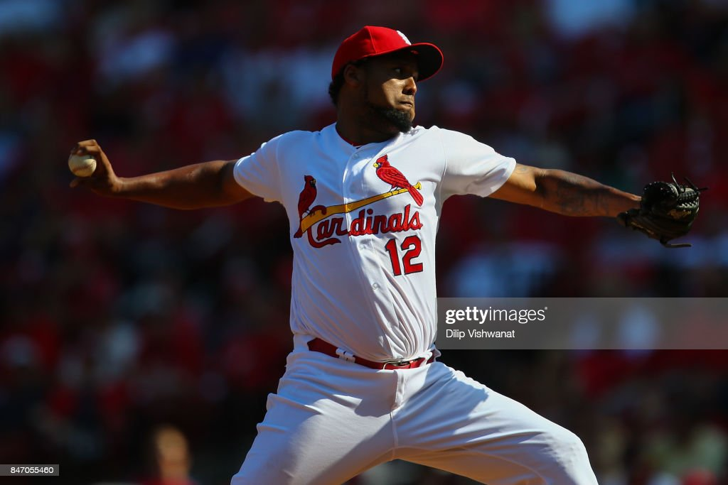 Juan Nicasio #12 of the St. Louis Cardinals pitches against the Cincinnati Reds in the ninth inning at Busch Stadium on September 14, 2017 in St. Louis, Missouri.
