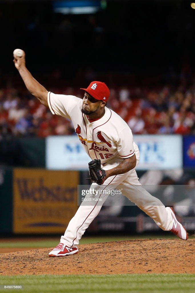 Juan Nicasio #12 of the St. Louis Cardinals pitches during the ninth inning against the Pittsburgh Pirates at Busch Stadium on September 9, 2017 in St. Louis, Missouri.