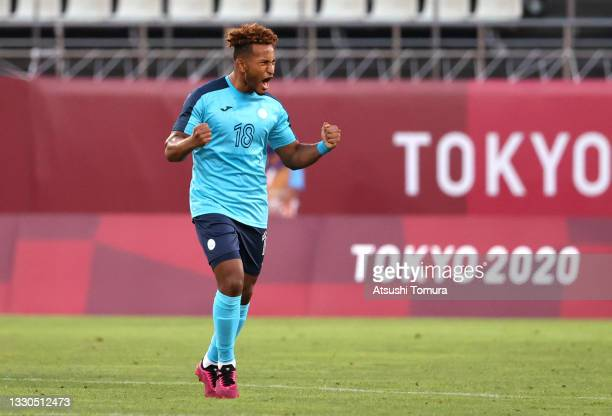 Juan Obregon of Team Honduras celebrates after scoring their side's second goal during the Men's First Round Group B match between New Zealand and...