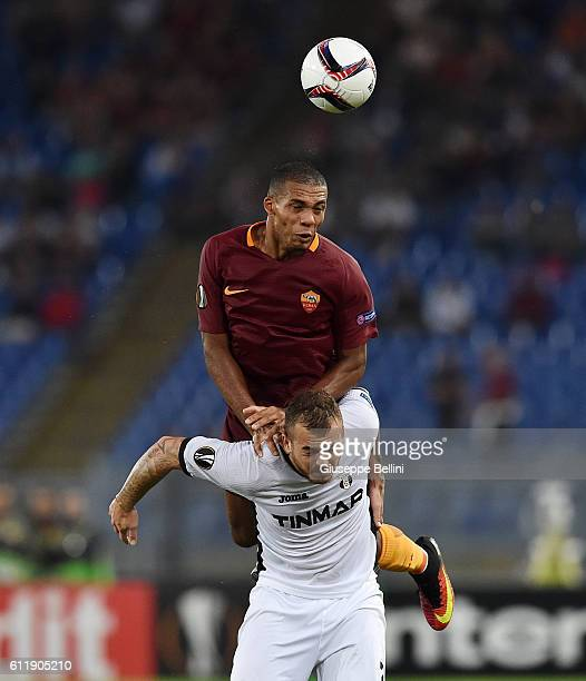 Juan of AS Roma and Denis Alibec of FC Astra Giurgiu in action during the UEFA Europa League match between AS Roma and FC Astra Giurgiu at Olimpico...