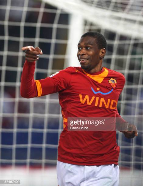 Juan of AS Roma celebrates after scoring his team's fourth goal during the Serie A match between AS Roma and AC Cesena at Stadio Olimpico on January...