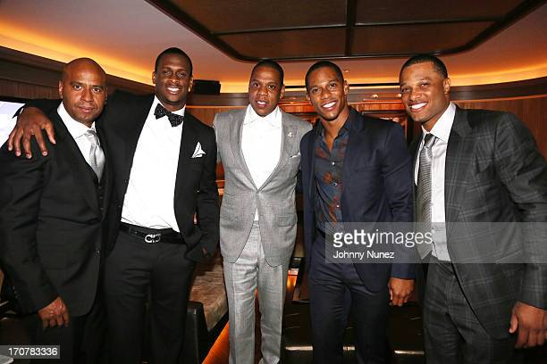 Juan 'OG' Perez Geno Smith JayZ Victor Cruz and Robinson Cano attend The 40/40 Club 10 Year Anniversary Party at 40 / 40 Club on June 17 2013 in New...