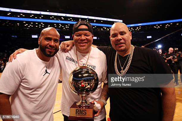 Juan OG Perez Shawn 'Pecas' Costner and Fat Joe attend the 2016 Roc Nation Summer Classic Charity Basketball Tournament at Barclays Center of...