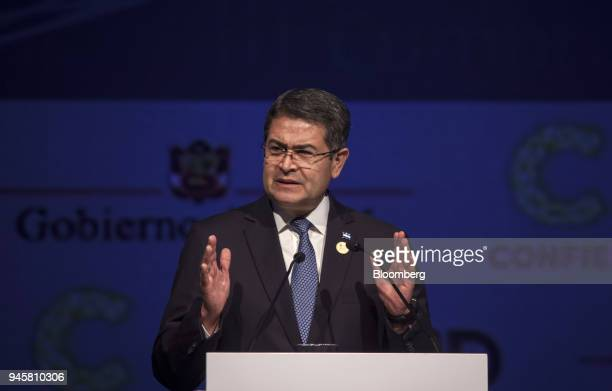 Juan Orlando Hernandez, Honduras's president, speaks during the CEO Summit of the Americas in Lima, Peru, on Thursday, April 12, 2018. The conference...
