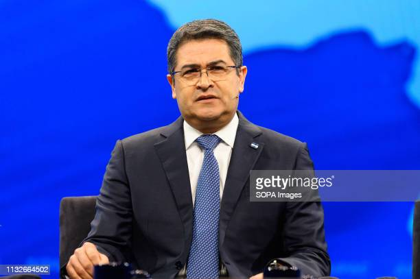 Juan Orlando Hernandez, President of the Republic of Honduras, seen during the American Israel Public Affairs Committee Policy Conference in...