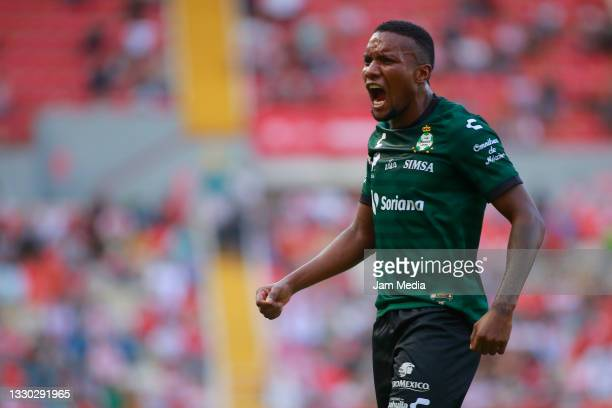 Juan Otero of Santos celebrates after scoring his team's first goal during the 1st round match between Necaxa v Santos Laguna as part of the Torneo...