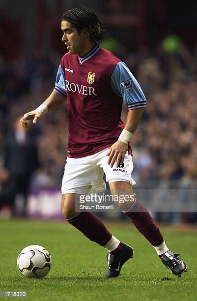 Juan Pablo Angel of Aston Villa with the ball at his feet during the FA Barclaycard Premiership match between Aston Villa and Middlesbrough held on...
