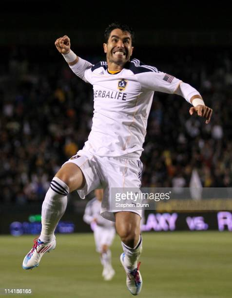 Juan Pablo Angel of the Los Angeles Galaxy celebrates after scoring a goal against Sporting Kansas City at The Home Depot Center on May 14 2011 in...
