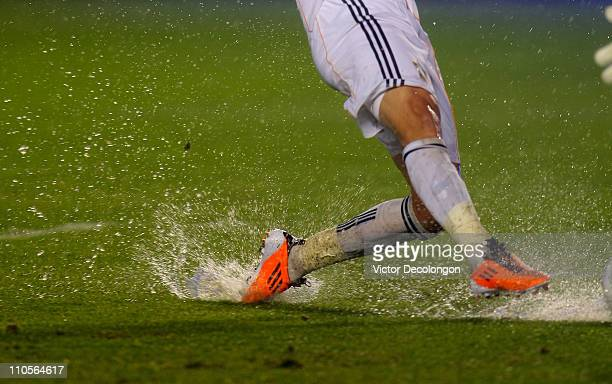 Juan Pablo Angel of the Los Angeles Galaxy pokes the ball into the net in the second half of their MLS match against the New England Revolution at...