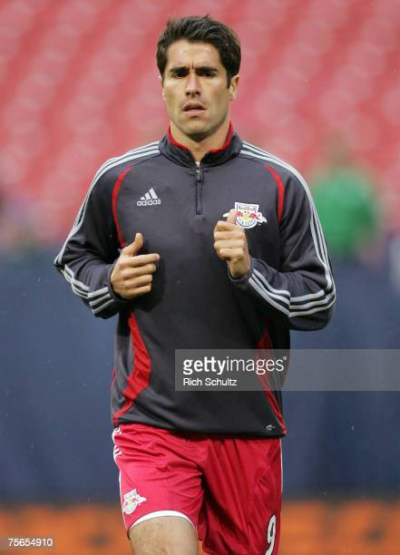 Juan Pablo Angel of the New York Red Bulls before the start of their game against the Columbus Crew in an MLS game at Giants Stadium in East...