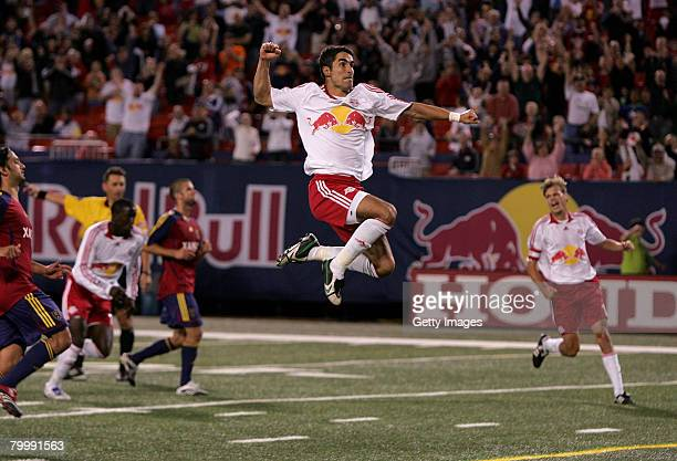 Juan Pablo Angel of the New York Red Bulls celebrates after scoring a penatly kick goal in the 80th minute and setting the single season for most...