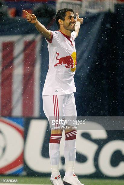 Juan Pablo Angel of the New York Red Bulls celebrates after scoring a goal in the first half against the Toronto FC during the game on October 24...
