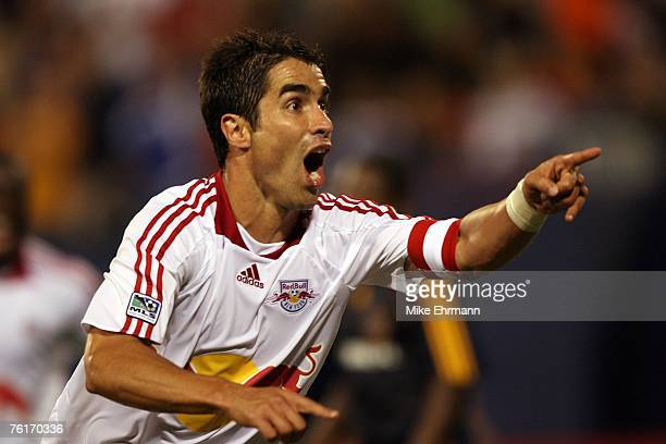 Juan Pablo Angel of the New York Red Bulls celebrates after scoring the game winning goal against the Los Angeles Galaxy at Giants Stadium on August...