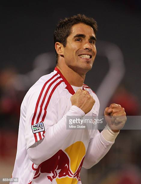Juan Pablo Angel of the New York Red Bulls celebrates his goal game winning goal in the 76th minute against the Columbus Crew at Giants Stadium in...