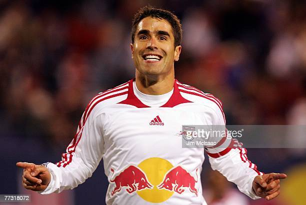 Juan Pablo Angel of the New York Red Bulls celebrates his second goal against the Kansas City Wizards on October 13 2007 at Giants Stadium in East...