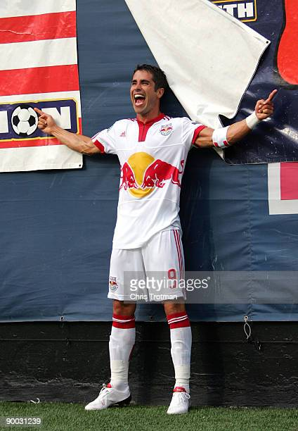 Juan Pablo Angel of the New York Red Bulls celebrates his second goal of the game in the 88th minute and breaking the franchise record for regular...