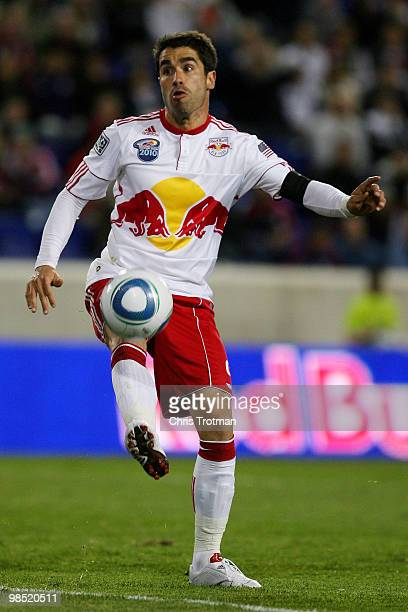 Juan Pablo Angel of the New York Red Bulls controls the ball against the FC Dallas during the match at Red Bull Arena on April 17, 2010 in Harrison,...