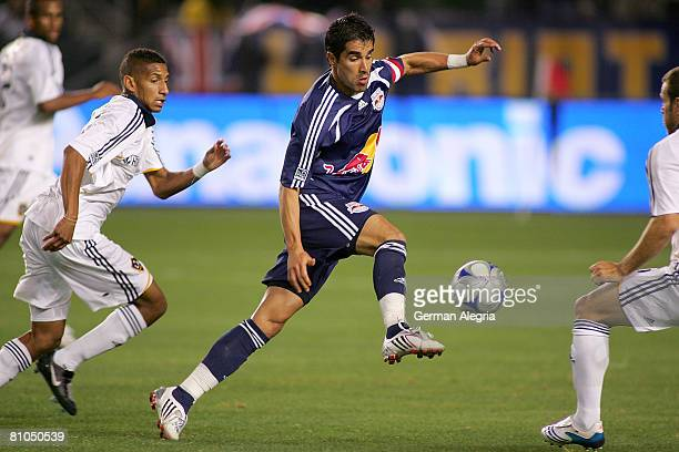 Juan Pablo Angel of the New York Red Bulls in action against the defensive line of the Los Angeles Galaxy during their MLS game against the New York...