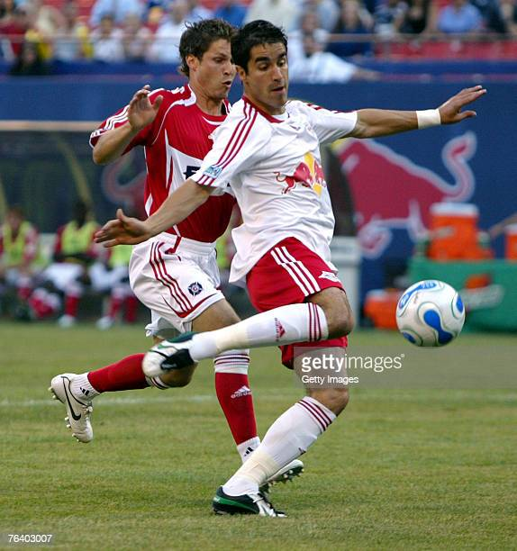 Juan Pablo Angel of the New York Red Bulls kicks the ball into the net for a goal in the 3rd minute of the match against the Chicago Fire at Giants...
