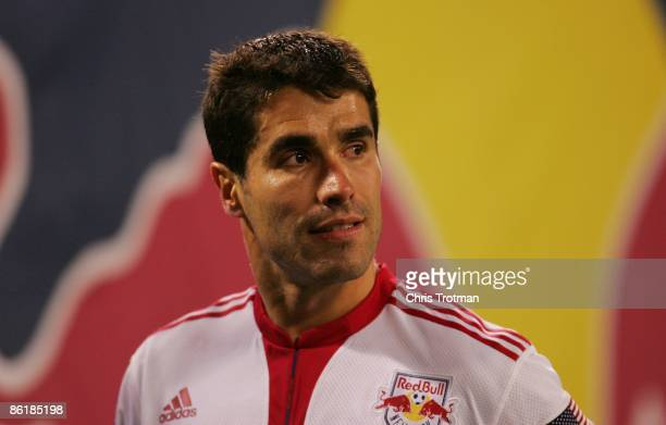 Juan Pablo Angel of the New York Red Bulls looks on against Real Salt Lake at Giants Stadium in the Meadowlands on April 18, 2009 in East Rutherford,...