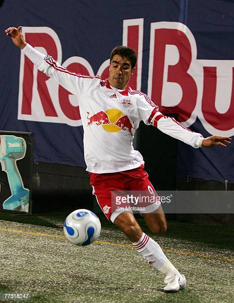 Juan Pablo Angel of the New York Red Bulls makes a pass against the Kansas City Wizards on October 13 2007 at Giants Stadium in East Rutherford New...
