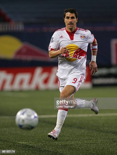 Juan Pablo Angel of the New York Red Bulls plays the ball against Real Salt Lake at Giants Stadium in the Meadowlands on April 18 2009 in East...