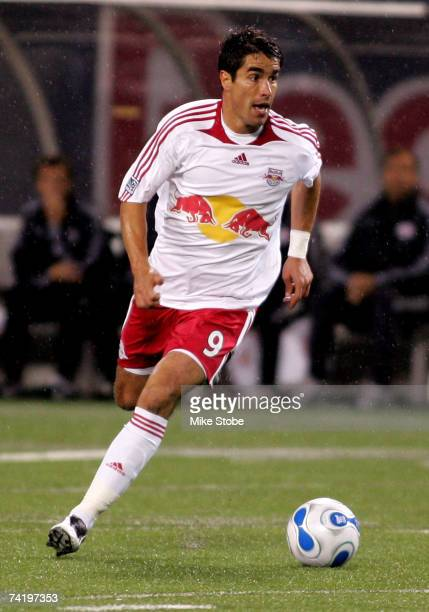 Juan Pablo Angel of the New York Red Bulls plays the ball against the Columbus Crew at Giants Stadium in the Meadowlands on May 19 2007 in East...