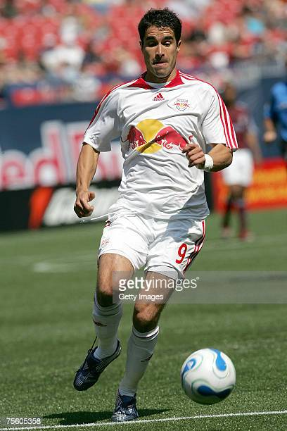 Juan Pablo Angel of the New York Red Bulls plays the ball against the Colorado Rapids at Giants Stadium in the Meadowlands on MAY 13, 2007 in East...