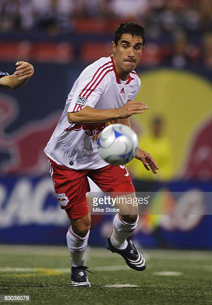 Juan Pablo Angel of the New York Red Bulls plays the ball against the Colorado Rapids at Giants Stadium in the Meadowlands on September 27, 2008 in...