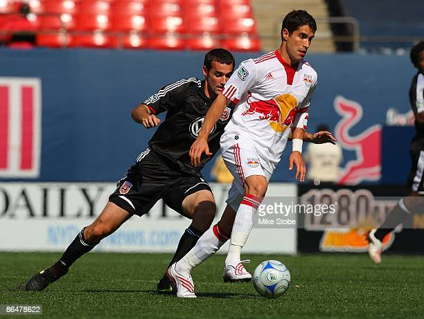 Juan Pablo Angel of the New York Red Bulls plays the ball against the DC United at Giants Stadium in the Meadowlands on April 26 2009 in East...