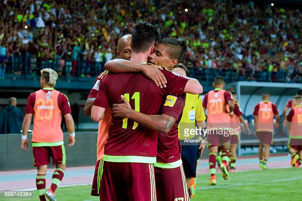 Juan Pablo Añor celebrates with teammates after scoring the first goal of his team during a match between Venezuela and Argentina as part of FIFA...